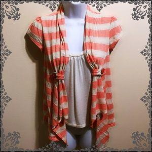 PAPAYA Striped Cardigan with Attached Undershirt